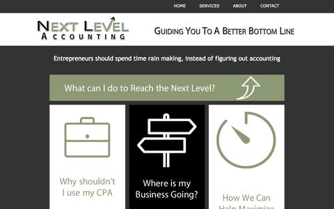 Screenshot of Home Page next-level-accounting.com - Outsourced Accounting, Part time CFO and Interim Controller Services - captured Oct. 7, 2014