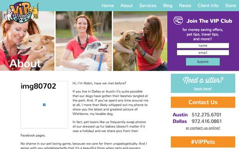 Screenshot of About Page vippets.net - Pet care and pet sitting in Austin and Dallas - captured Nov. 5, 2014