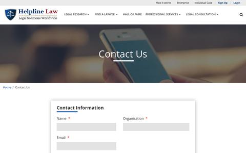 Screenshot of Contact Page helplinelaw.com - Lawyer, Law Firms, Solicitor, Attorneys, Contact Us Online Legal Solutions - Helplinelaw.com - captured Jan. 19, 2020