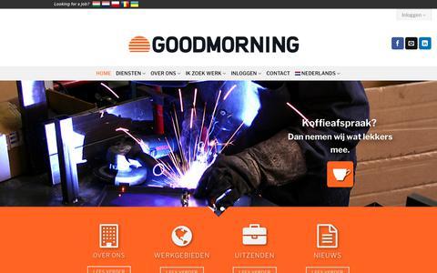 Screenshot of Home Page goodmorning.nl - Goodmorning Uitzendorganisatie - captured July 21, 2018