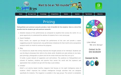 Screenshot of Pricing Page mysuperbrain.com - MySuperBrain | for the all-rounder in every student | - captured Oct. 29, 2014