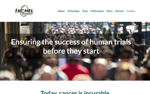 Screenshot of Home Page ixchelsci.com - Ixchel Scientific | Ensuring success of human trials - captured Sept. 7, 2015