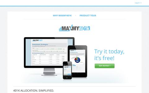 Screenshot of Home Page maxmy401k.com - MaxMy401k | 401k Allocation. Simplified. | MaxMy401k.com - captured Sept. 30, 2014