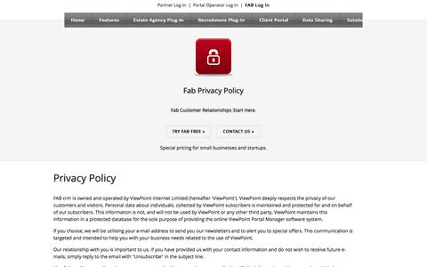 Screenshot of Privacy Page fabcrm.com - CRM Software | Try It For Free - captured Sept. 23, 2014
