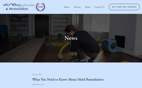 Screenshot of Press Page airductservices.com - News — Air Duct Services & Restoration - captured Oct. 3, 2018