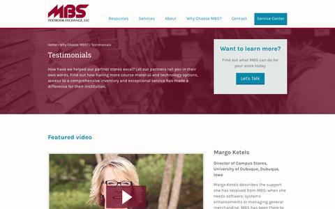 Screenshot of Testimonials Page mbsbooks.com - MBS Textbook Exchange, LLC - captured Sept. 29, 2017