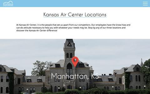 Screenshot of Locations Page kansasair.com - Kansas Air Center Locations - Kansas Air Center - captured Feb. 12, 2016