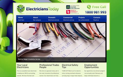 Screenshot of Home Page electricianstoday.com.au - Electrician Melbourne - Domestic & Commercial | Electricians Today - captured Sept. 29, 2014