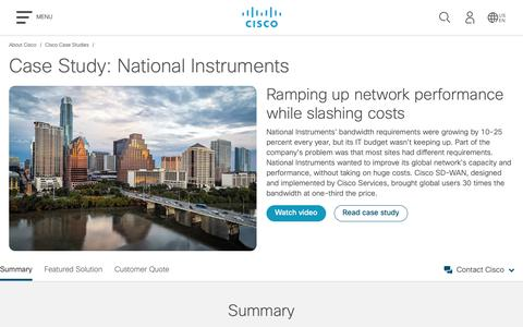 Screenshot of Case Studies Page cisco.com - Case Study: National Instruments - Cisco - captured May 10, 2019