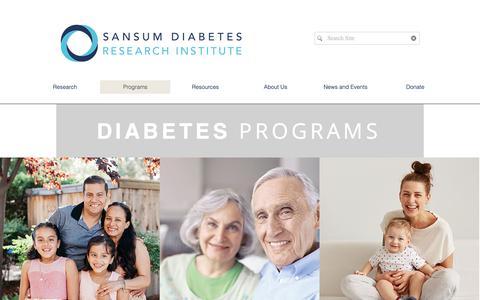 Screenshot of Support Page sansum.org - SDRI    Programs - captured Oct. 2, 2018