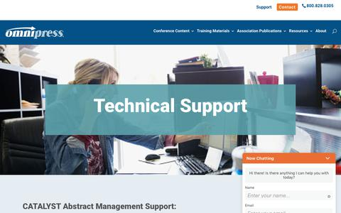 Screenshot of Support Page omnipress.com - Technical Support - Omnipress - captured Aug. 12, 2019