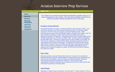 Screenshot of About Page aviationinterviewprep.com - Aviation Interview Prep Services - About Us - captured Oct. 4, 2014