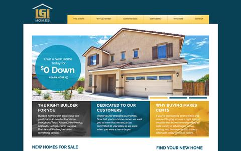 Screenshot of Home Page lgihomes.com - Home Builder with Affordable New Homes in AZ, FL, GA, NM & TX | LGI Homes - captured May 12, 2017