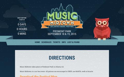 Screenshot of Maps & Directions Page musicmidtown.com - Directions - Music Midtown 2015 | September 18 & 19, 2015 - captured Jan. 16, 2016