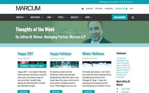 Thoughts of the Week by Jeffrey Weiner | Marcum LLP | Accountants and Advisors | New York, New Jersey, Massachusetts, Connecticut, Rhode Island, Pennsylvania, California,             Florida, Tennessee and Illinois Certified Public Accountants
