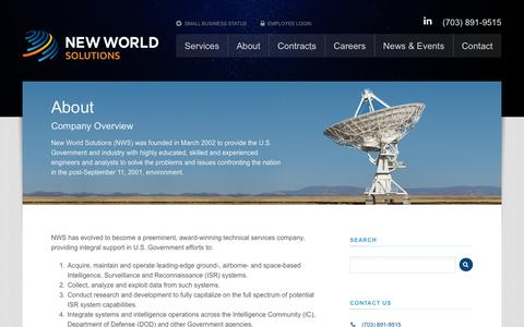 Screenshot of About Page new-world-solutions.com - About - New World Solutions - captured Oct. 7, 2014