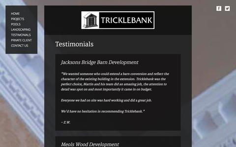 Screenshot of Testimonials Page tricklebank.com - Tricklebank Ltd | Testimonials | Cheshire and Lancashire - captured Oct. 8, 2014