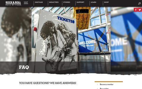 Screenshot of FAQ Page rockhall.com - FAQ | Rock & Roll Hall of Fame - captured June 27, 2017