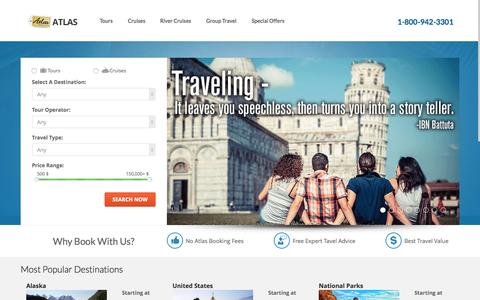 Screenshot of Home Page atlastravelweb.com - Atlas Cruises and Tours - Full service travel agency specializing in escorted tours, cruises group travel packages - captured June 18, 2015