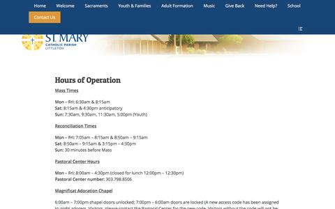 Screenshot of Hours Page stmarylittleton.org - Hours of Operation – St. Mary Catholic Parish - captured June 29, 2018