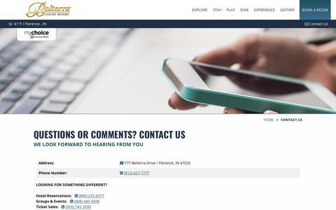 Screenshot of Contact Page belterracasino.com - Contact Us   Belterra Casino Resort - captured Nov. 13, 2018