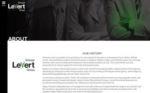 Screenshot of About Page levert.ca - About - Levert Group - captured Aug. 3, 2017