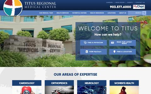 Screenshot of Home Page titusregional.com - Titus Regional Medical Center - Mount Pleasant, Texas - captured Nov. 18, 2018
