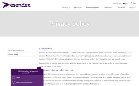 Screenshot of Privacy Page esendex.com.au - Privacy policy | Esendex - captured Aug. 20, 2019