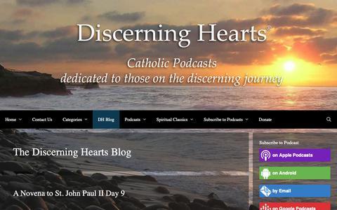 Screenshot of Blog discerninghearts.com - The Discerning Hearts Blog Archives - Discerning Hearts Catholic Podcasts - captured Oct. 25, 2018