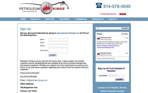 Screenshot of Signup Page petroleumkings.com - Sign Up - Petroleum Kings - captured Oct. 2, 2014