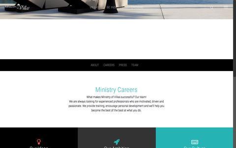 Screenshot of Jobs Page ministryofvillas.com - Ministry Careers   Ministry of Villas - captured Sept. 21, 2018