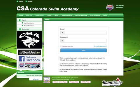 Screenshot of Login Page teamunify.com - Colorado Swim Academy : Sign In - captured Nov. 8, 2016