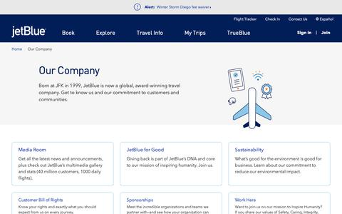 Screenshot of About Page jetblue.com - Our Company | JetBlue - captured Dec. 9, 2018