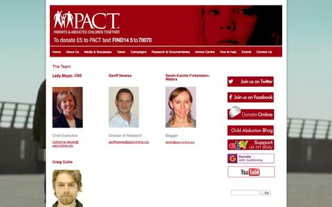 Screenshot of Team Page pact-online.org - About Us - the PACT Team | Parents and Abducted Children Together - captured Oct. 1, 2014