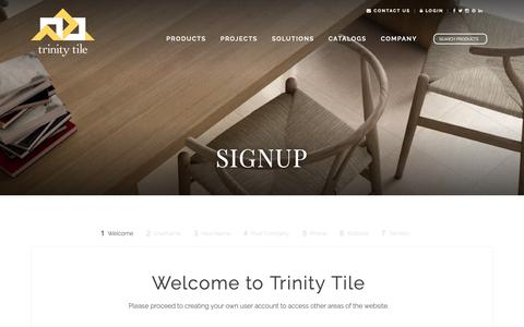 Screenshot of Signup Page trinitytile.com - Signup - Trinity Tile  Trinity Tile - captured Oct. 20, 2018