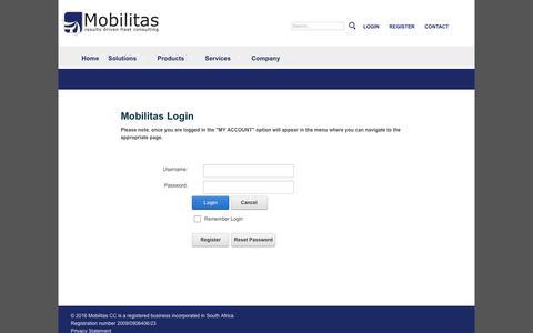 Screenshot of Login Page mobilitas.co.za - Mobilitas Login - captured Nov. 29, 2016