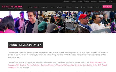 Screenshot of About Page developerweek.com - About |  DeveloperWeek 2016 | February 12-18 - captured March 4, 2016