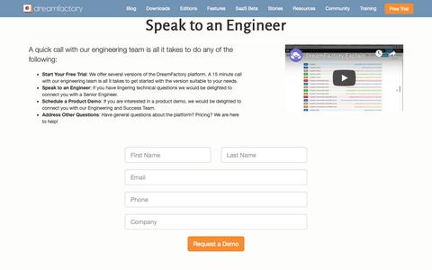 Screenshot of Trial Page dreamfactory.com - Speak to an Engineer | DreamFactory - captured Dec. 7, 2018