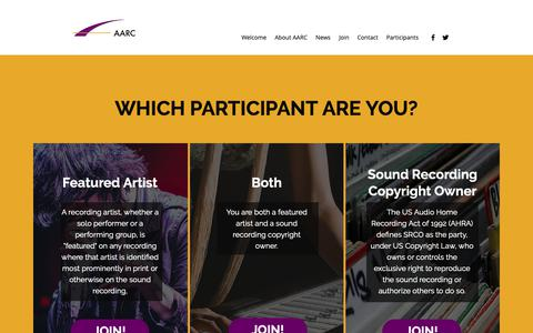 Screenshot of Signup Page aarcroyalties.com - Who Are You? | Alliance of Artists and Recording Companies - captured Oct. 3, 2018