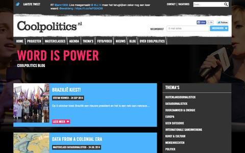 Screenshot of Blog coolpolitics.nl - Blog | Coolpolitics – Word is Power - captured Sept. 30, 2014