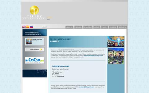 Screenshot of Jobs Page tilleyent.com - TILLEY ENTERTAINMENT > - captured Oct. 7, 2014