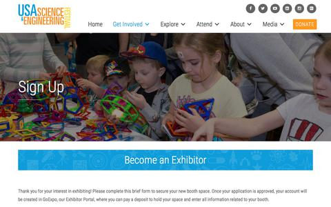 Screenshot of Signup Page usasciencefestival.org - Sign Up | USASEF - captured Aug. 5, 2017