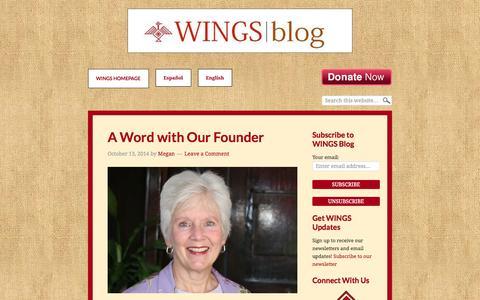 Screenshot of Blog wingsguate.org - WINGS Blog – Strengthening Guatemalan Families Through Reproductive Health - captured Oct. 26, 2014