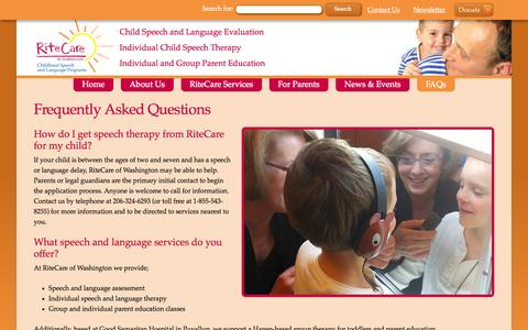 Screenshot of FAQ Page ritecarewa.org - FAQs - RiteCare of Washington - captured Oct. 26, 2014
