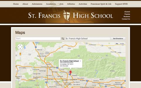 Screenshot of Maps & Directions Page sfhs.net - St. Francis High School - captured Oct. 7, 2014