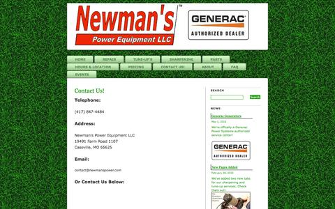 Screenshot of Contact Page newmanspower.com - Contact Us! » Newman's Power Equipment LLC - Fast repair for lawnmowers, chainsaws and more! - captured Oct. 26, 2014