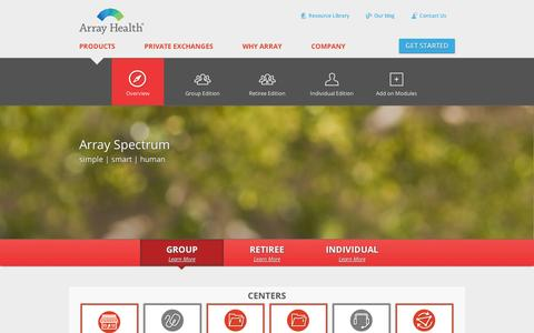 Screenshot of Products Page arrayhealth.com - Array Spectrum Private Health Insurance Exchange Solution | Array Health - captured Sept. 11, 2014