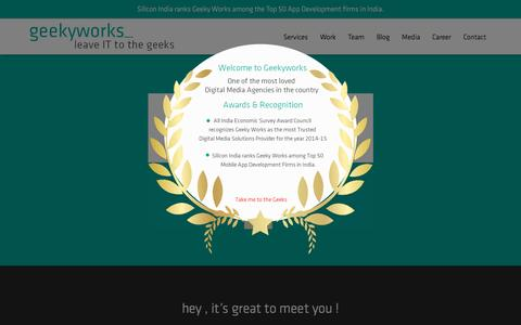 Screenshot of Home Page geekyworks.com - Award Winning Web and Mobile Application development company - captured Dec. 8, 2015