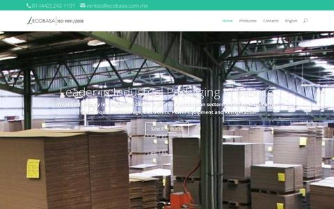 Screenshot of Home Page ecobasa.com.mx - ECOBASA: Boxes, Shipping and Packaging Systems in Mexico - captured Jan. 28, 2016