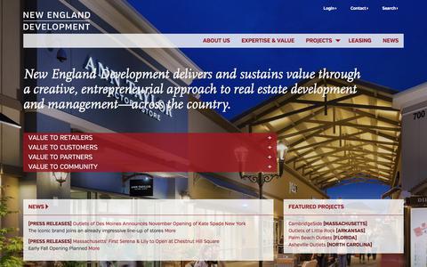 Screenshot of Home Page nedevelopment.com - New England Development   New England Development - captured Sept. 12, 2019